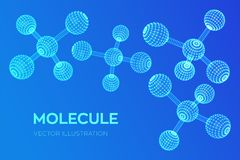 Molecule Structure. Dna, atom, neurons. Molecules and chemical formulas. 3D Scientific molecule background for medicine, science, royalty free illustration