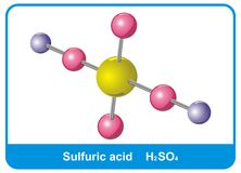 Molecule of sulfuric acid. Coloured Stock Photography