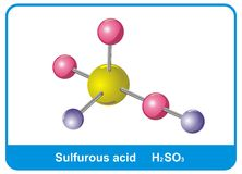 Molecule of Sulfurous Acid Royalty Free Stock Image
