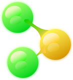Molecule with three atoms. Simple abstraction of a molecule with 3 atoms: two green and one orange atom Stock Image