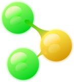 Molecule with three atoms Stock Image