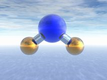 Molecule of water. Above ocean. Abstract. 3D Royalty Free Stock Photo