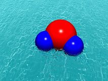Molecule of water. Above ocean. Abstract. 3D Stock Photography
