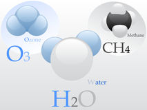 Molecules. Vectorial illustration of 3 molecules - water, ozone and methane Royalty Free Stock Image