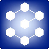 Molecules. Hexagonal molecules on blue background Royalty Free Stock Images