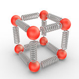 Molecules Bonding. The three dimensional shape or configuration of a molecule is an important characteristic. This shape is dependent on the preferred spatial Royalty Free Stock Images