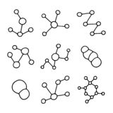 Molecules Chemical Formulas Icon Set. biology hand drawing object in isolation royalty free illustration