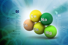 Molecules. 3d molecules in color background Royalty Free Stock Photo
