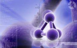 Molecules. Digital illustration of molecules in colour background royalty free illustration
