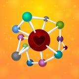 Molecules heart Stock Photography