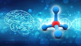 Molecules op medische achtergrond 3d geef terug stock illustratie