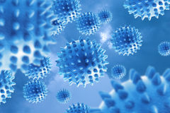 Molecules of the virus . Molecules of the virus on a blue background Stock Images