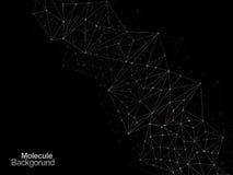 Molekül Backgound-Designtapete auf Schwarzem Stockfotografie