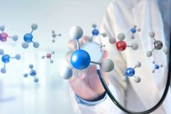 Molekül der Wiedergabe 3d auf angezeigt auf einer medizinischen Schnittstelle Lizenzfreie Stockfotos