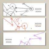 Moleküldesign-Schablonenfahne kann für Arbeitsflussplan, Diagramm, Zahlwahlen, Netzentwurf verwendet werden Stockfotografie