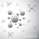 Moleküle auf grauem Hintergrund Auch im corel abgehobenen Betrag Stockfotos