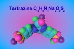 Molekülstruktur des Tartrazinmoleküls, E102 Tartrazin ist ein helles gelbes Pigment, ein schädlicher Farbstoff, der benutzt wird stock abbildung
