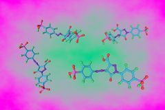Molekülstruktur des Tartrazinmoleküls, E102 Tartrazin ist ein schädlicher Farbstoff, der in vielen Nahrungsmitteln benutzt wird L stock abbildung
