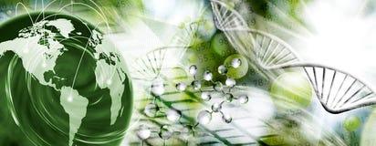 Molekülstruktur, Kette von DNA und abstrakter Planet auf einem grünen Hintergrund Lizenzfreie Stockfotos