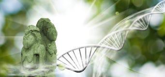 Molekülstruktur, Kette von DNA und alte Statuen auf einem grünen Hintergrund Stockfotos