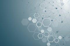 Molekülstruktur mit Partikeln Wissenschaftliche medizinische Forschung Wissenschaft und Technik backgroud Molekulares Konzept lizenzfreie abbildung