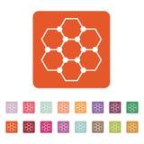 Molekuły ikona Atom i chemia, dna, physics symbol mieszkanie Obraz Stock