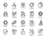 Molekulare Chemie-, Physik- und Medizinkonzeptikonen Stockfotos