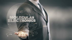 Molekulare Elektronik mit Hologrammgeschäftsmannkonzept stock video footage