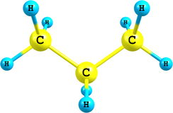 Molekylär struktur av propan på vit Arkivbilder