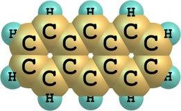 Molekylär struktur för Anthracene på vit bakgrund Fotografering för Bildbyråer