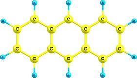 Molekylär struktur för Anthracene på vit bakgrund Royaltyfri Fotografi
