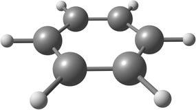 Molekylär struktur för bensen på vit bakgrund Royaltyfri Bild