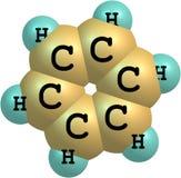 Molekylär struktur för bensen på vit bakgrund Arkivfoton