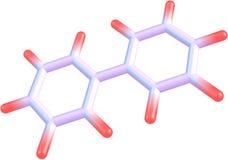 Molekylär struktur för Biphenyl på vit bakgrund Royaltyfria Foton