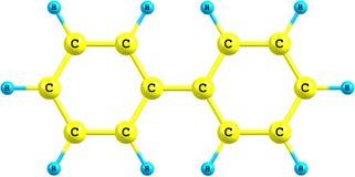 Molekylär struktur för Biphenyl på vit bakgrund Arkivfoton