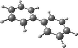 Molekylär struktur för Biphenyl på vit bakgrund Arkivbilder