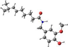 Molekylär struktur för Capsaicin Arkivbilder