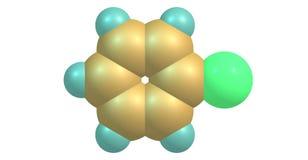 Molekylär struktur för Chlorobenzene som isoleras på vit Arkivbild