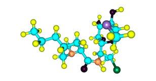 Molekylär struktur för Clindamycin som isoleras på vit stock illustrationer