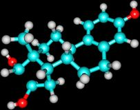 Molekylär struktur för Estriol Arkivfoto