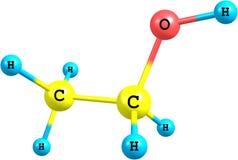 Molekylär struktur för Ethanol som isoleras på vit Fotografering för Bildbyråer