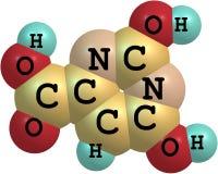 Molekylär struktur för Orotic syra som isoleras på vit Royaltyfri Bild