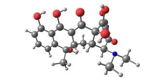Molekylär struktur för Tetracycline som isoleras på vit Royaltyfri Bild