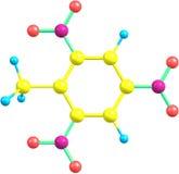 Molekylär struktur för Trinitrotoluene på vit bakgrund Royaltyfri Foto