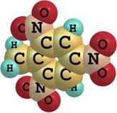 Molekylär struktur för Trinitrotoluene på vit bakgrund Arkivfoton