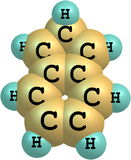 molekylär struktur 2H-indene på vit bakgrund Arkivbild