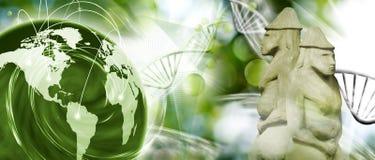 molekylär struktur, kedja av dna, abstrakt planet och forntida statyer på grön bakgrund Royaltyfri Bild