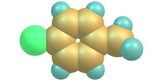 molekylär struktur som 4-chlorotoluene isoleras på vit Royaltyfri Foto