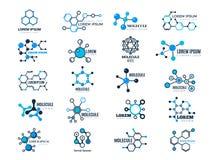 Molekylära logotyper Vektor för cell för knutpunkt för medicinsk information om teknologi för kemi för evolutionbegreppsformel ge stock illustrationer