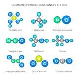 Molekylära strukturer av gemensamma kemiska vikter Royaltyfria Foton